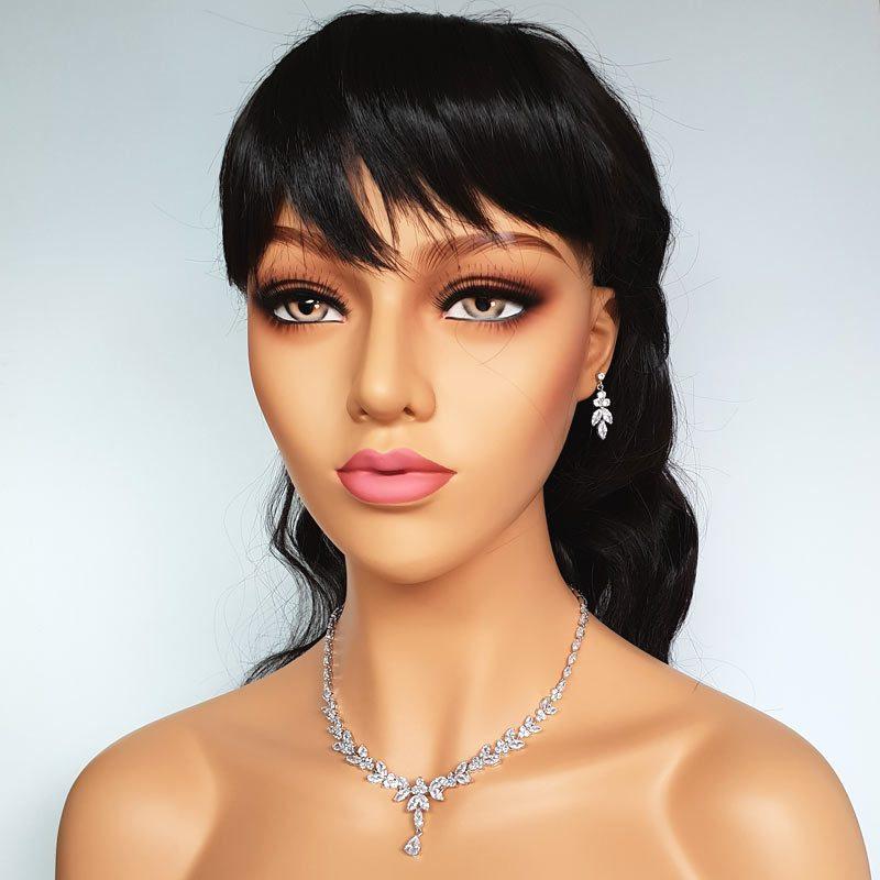 Silver cubic zirconia drop necklace set