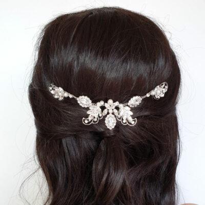 Swarovski crystal and pearl hair vine