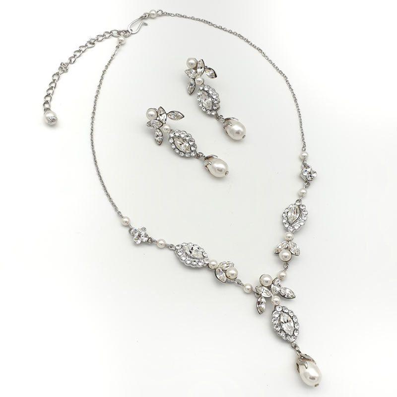swarovski crystal and pearl necklace set