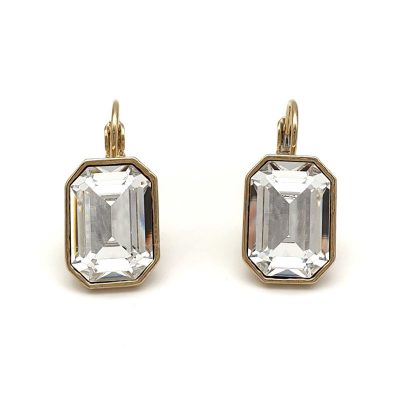 emerald cut swarovski crystal drop earrings