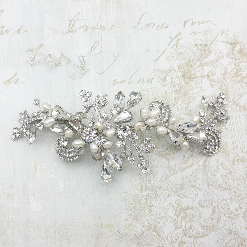 silver crystal bridal hair clip