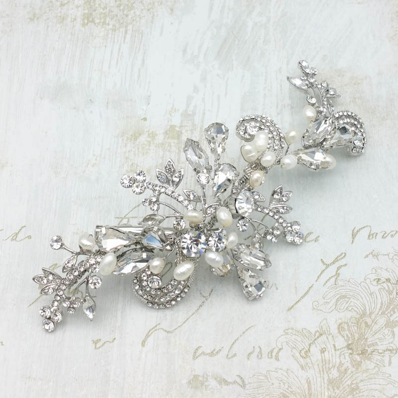 silver pearl and crystal hair clip