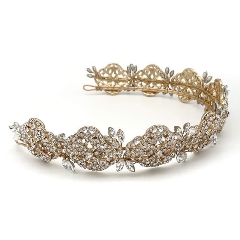 gold art deco bridal crown