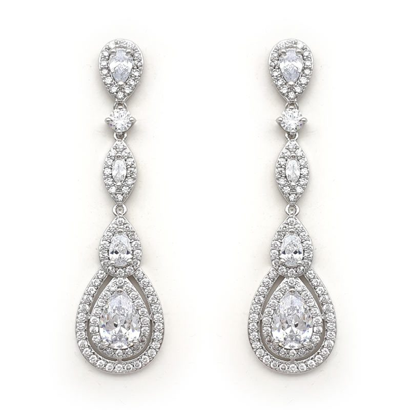 Long silver tear drop bridal earrings