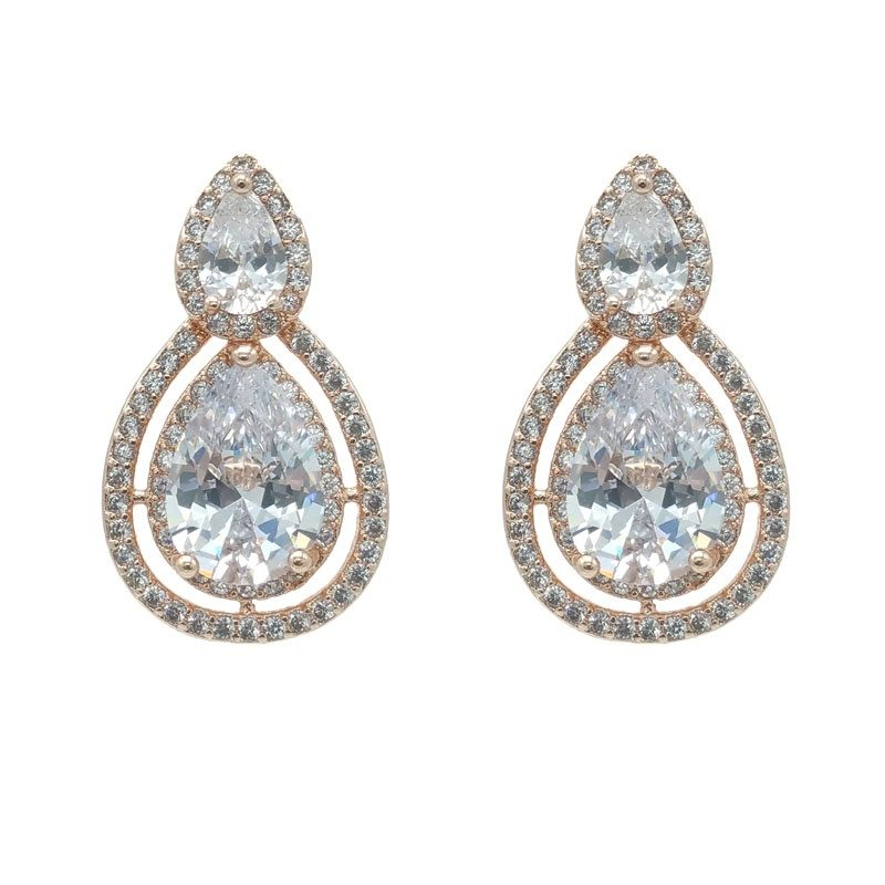 rose gold pear shaped studs