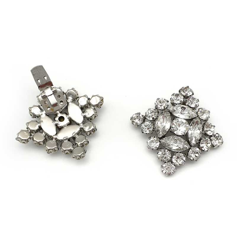 Silver diamante shoe clips