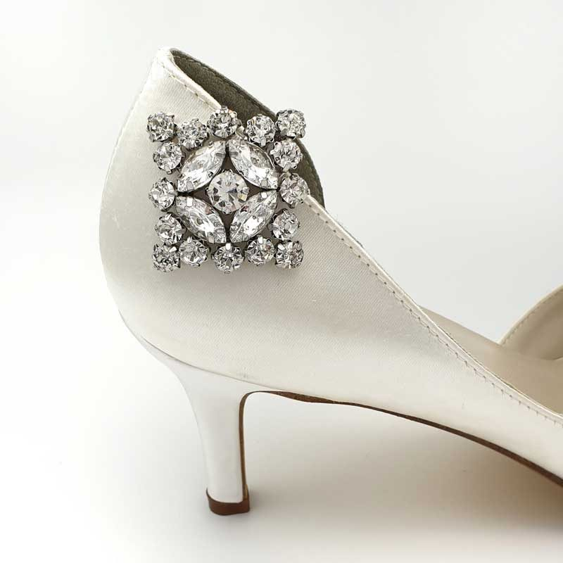 silver bridal shoe clips