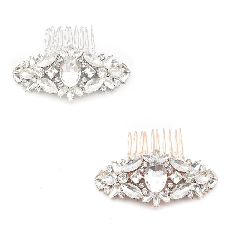 silver and rose gold hair comb