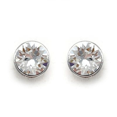 silver swarovski crystal stud earrings