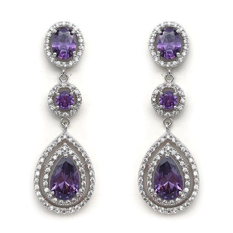 purple long drop earrings