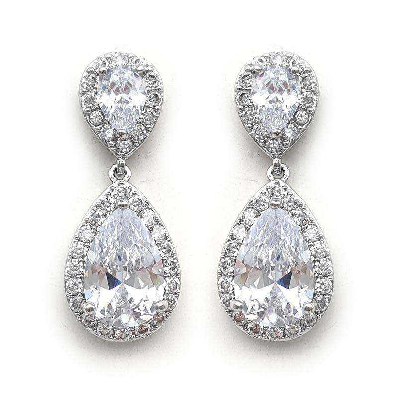 silver paved drop earrings
