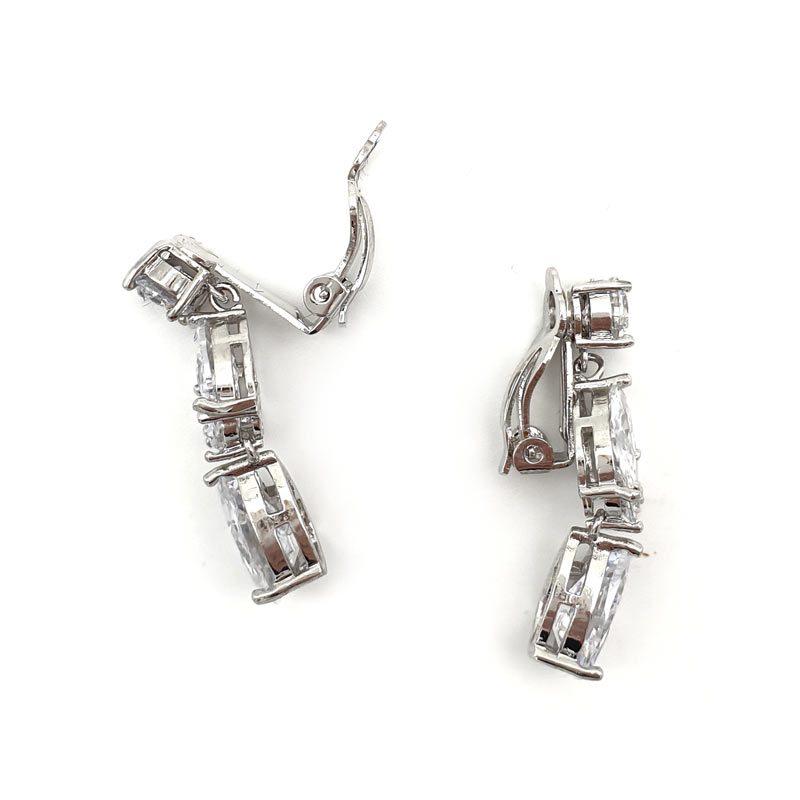 silver clip on drop earrings