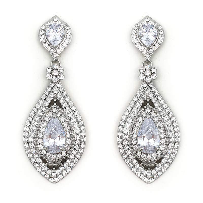 large silver drop earrings