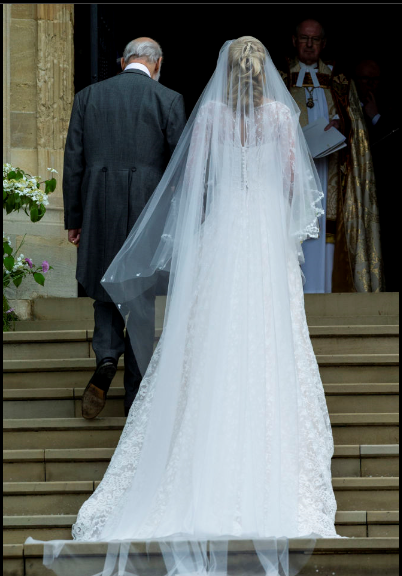 Prince Michael of Kent and Lady Gabriella Windsor entering the chapel on their royal wedding day.