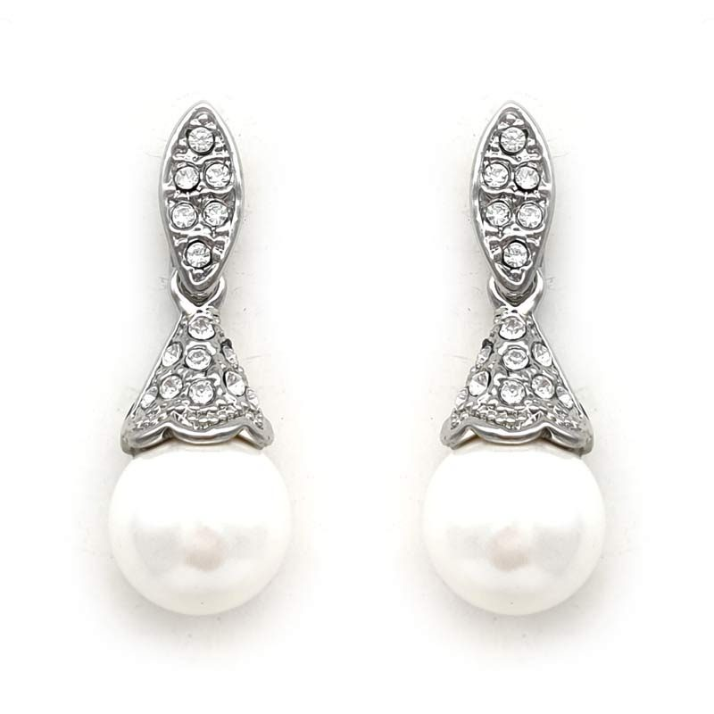 silver white pearl drop earrings