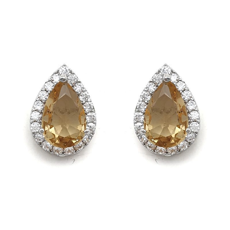 topaz coloured tear drop paved studs