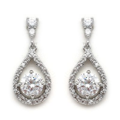 petite silver bridal drop earrings