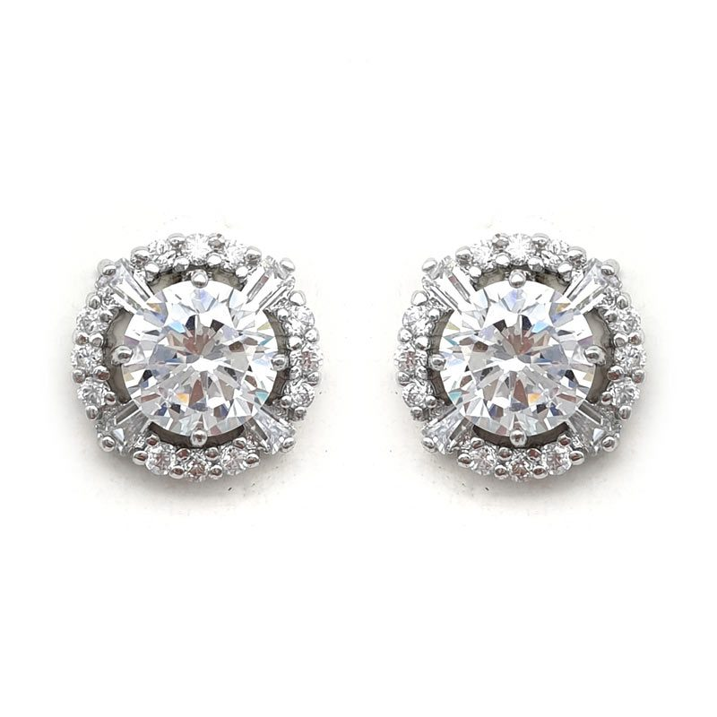 silver cz paved earrings