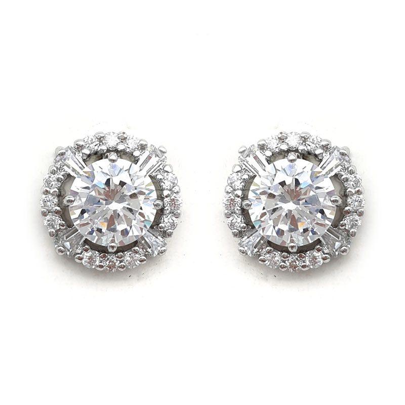 silver cz paved earrings