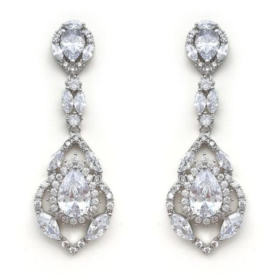 silver vintage cz drop earrings