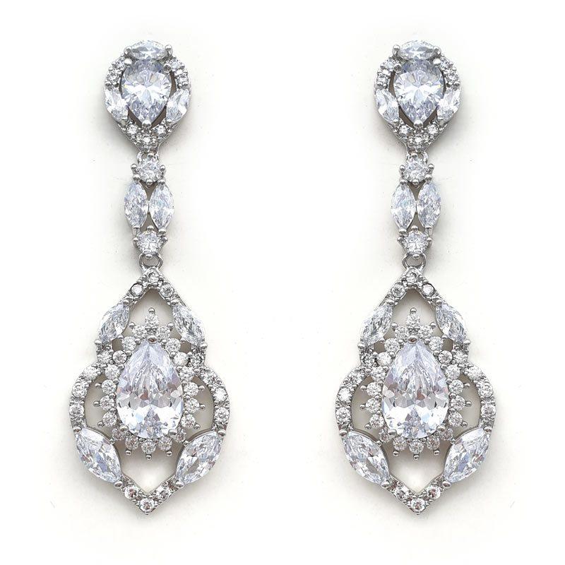 silver vintage cz drop earrings