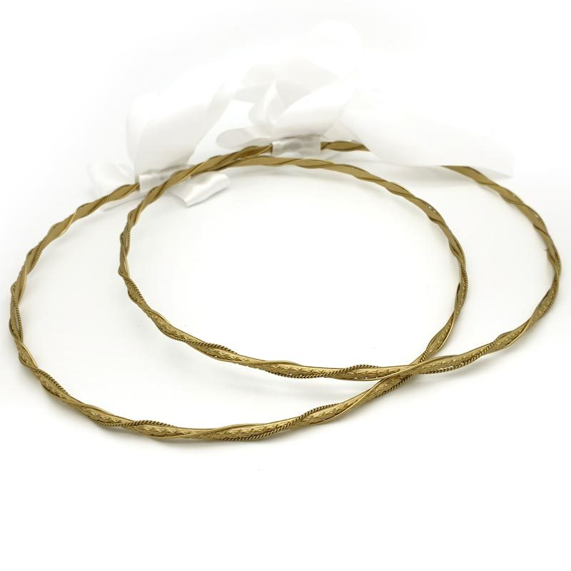 gold wired greek stefana set