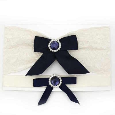 navy bow ivory bridal garter set