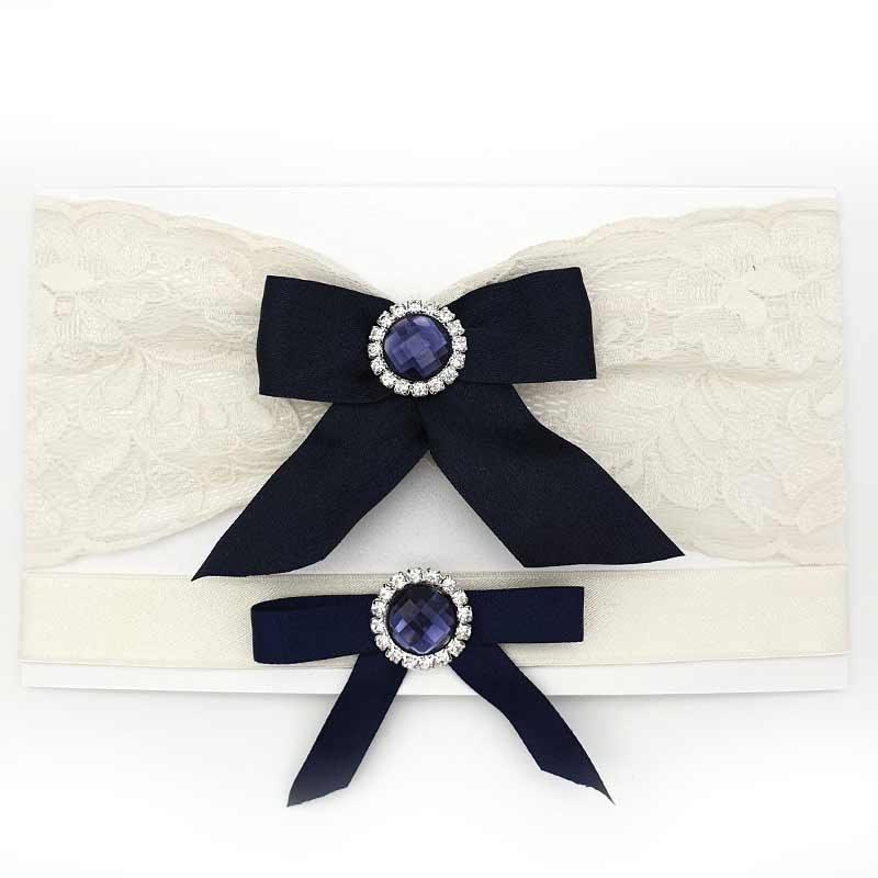 navy bow ivory bridal garter set