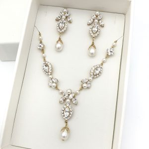 gold pearl and crystal bridal necklace set