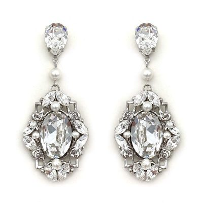 swarovski pearl and crystal large earrings