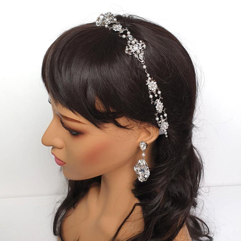 pearl and crystal bridal ribboned headband