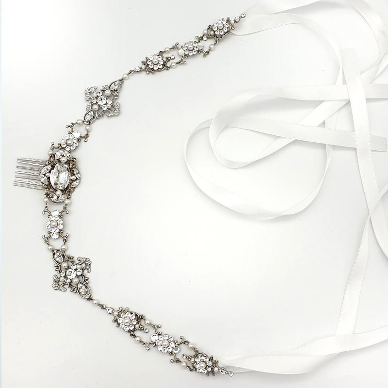 bridal ribboned headband