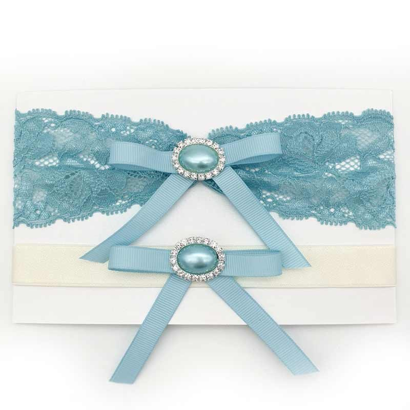 blue lace bridal garter set