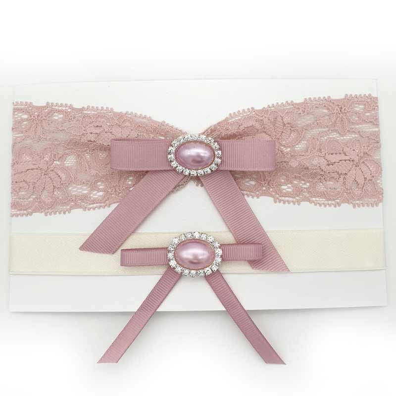 blush lace bridal garter set