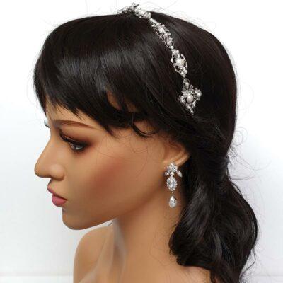 crystal and pearl bridal headband