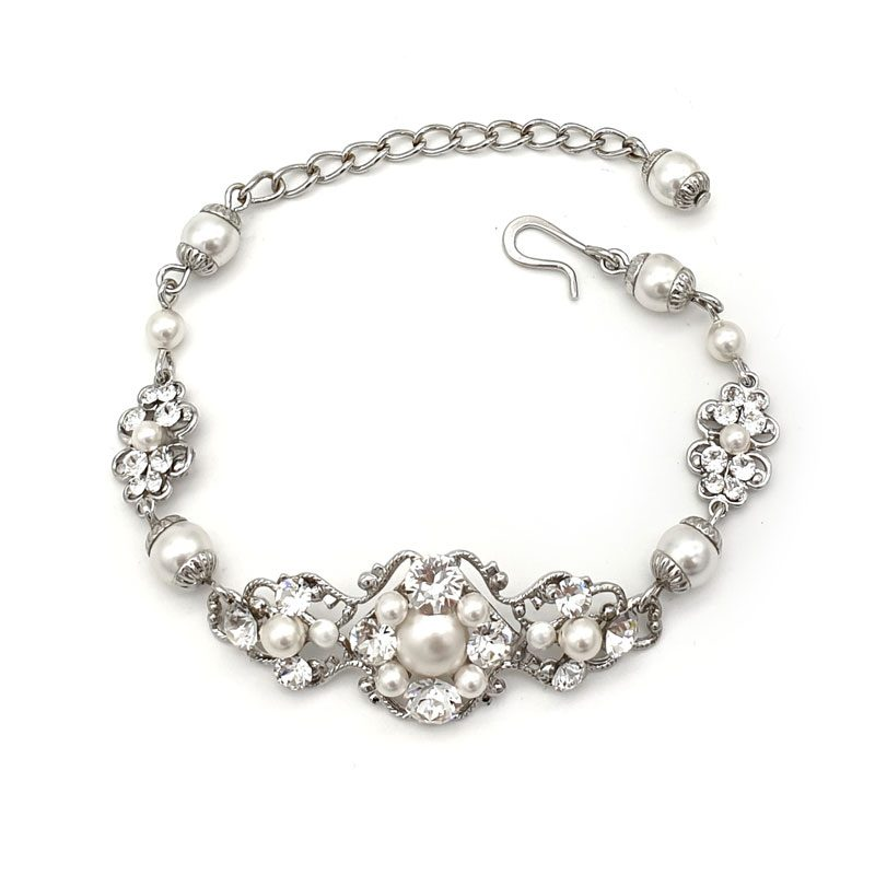 Pearl and crystal bridal bracelet