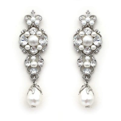 Swarovski crystal and pearl bridal earrings