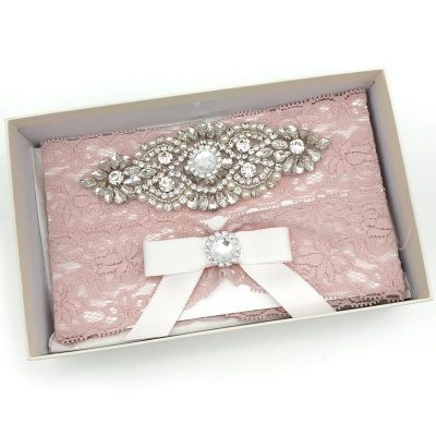 dusty pink lace bridal garter set