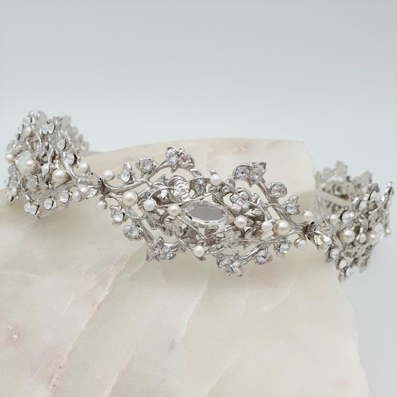 Swarovski pearl and crystal bridal headband