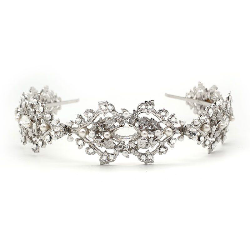 Bridal pearl and crystal headband