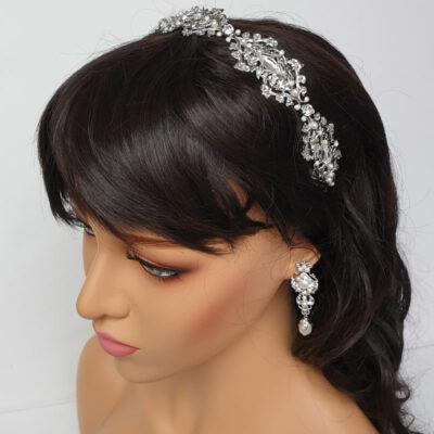 Swarovski crystal and pearl bridal headband