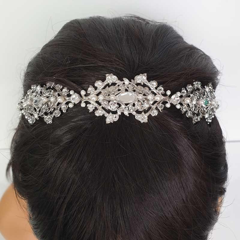 Pearl and crystal bridal headband