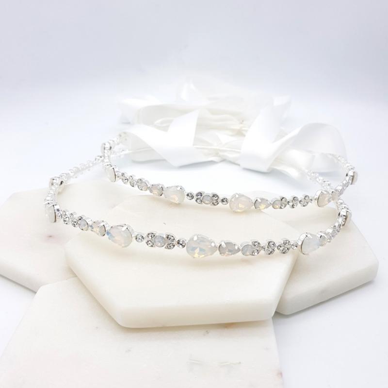 Silver white opal bridal stefana