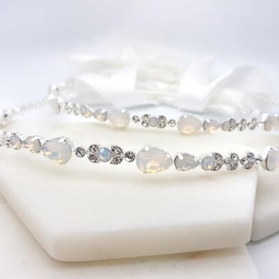 White opal silver wedding stefana crowns