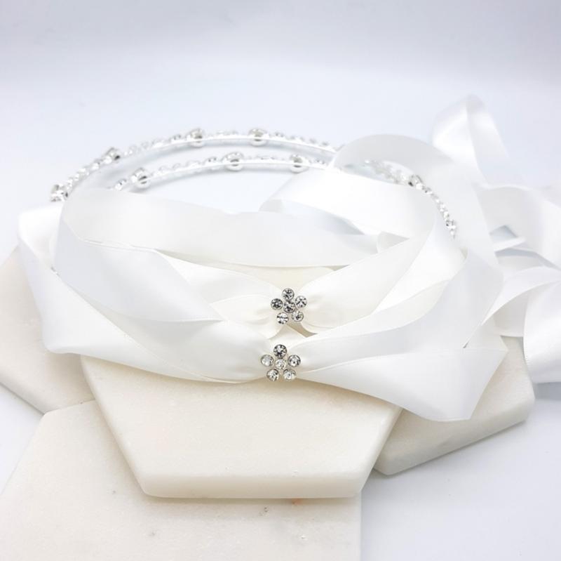 White opal silver stefana set