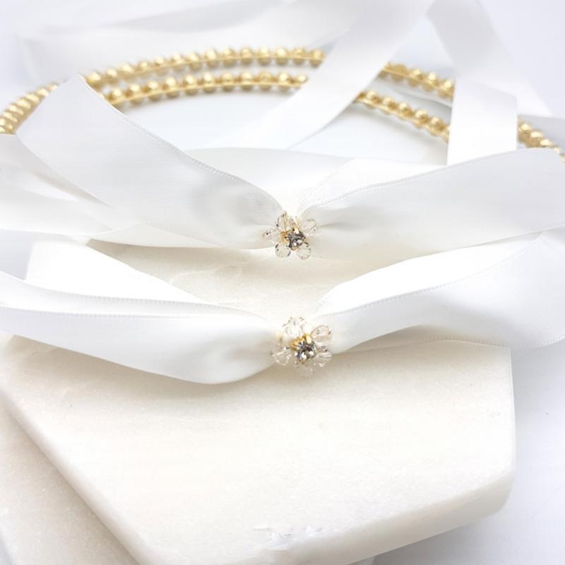 Gold crystal wedding stefana