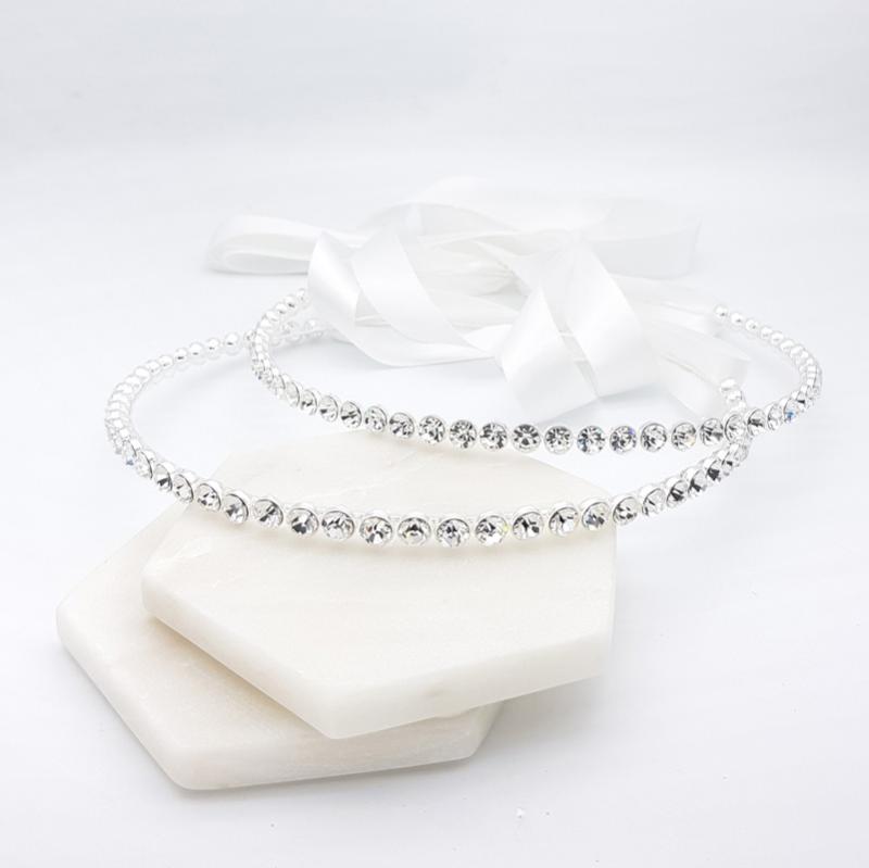 Silver round crystal Greek wedding crowns
