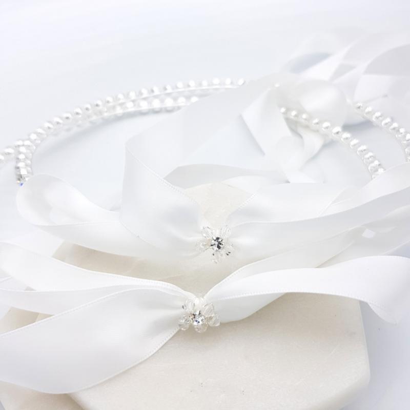 Silver roiund crystal Orthodox wedding crown