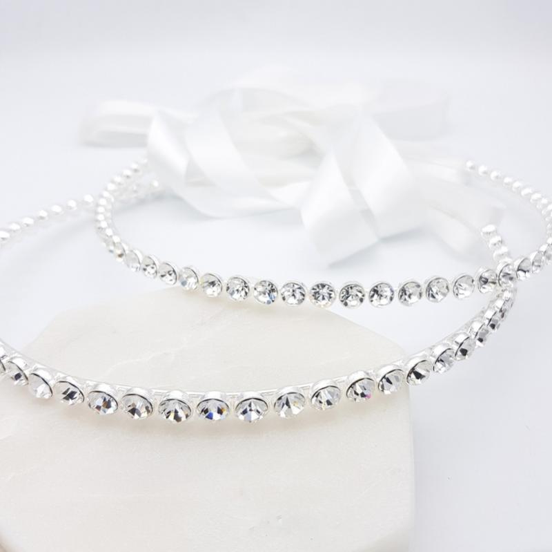 Silver crystal wedding stefana