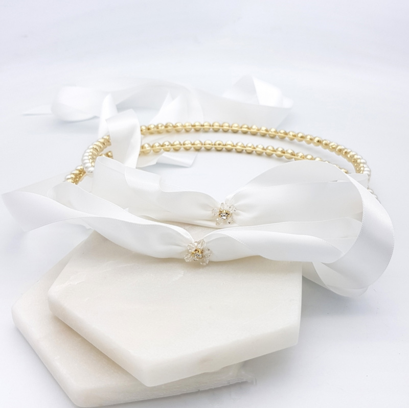 Gold pearl Greek wedding stefana